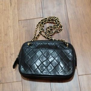 Chanel quilted leather chain bag